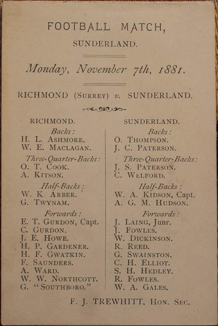 1881 Sunderland v Richmond Post Match Menu