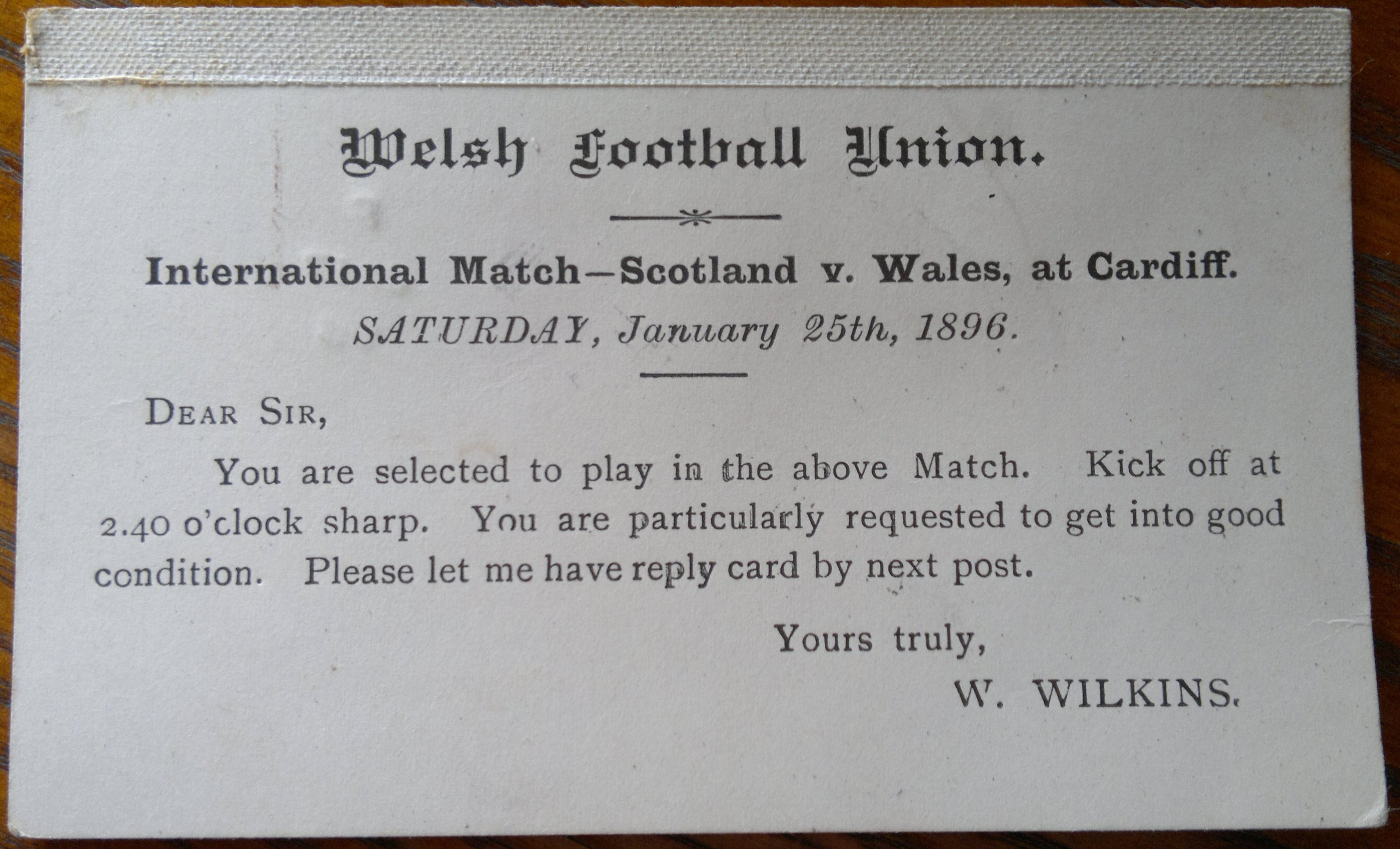 1896 Wales v Scotland (2) Rugby Memorabilia Society - Letter