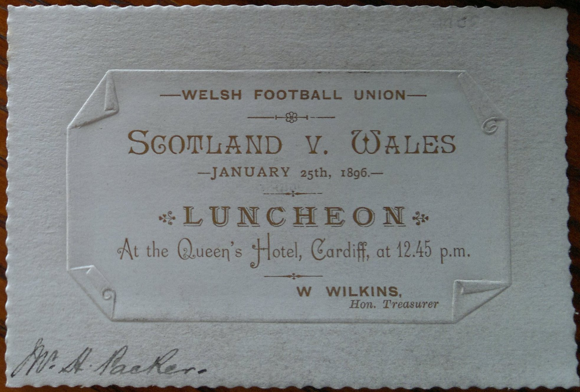1896 Wales v Scotland (3) Rugby Memorabilia Society - pre match luncheon ticket