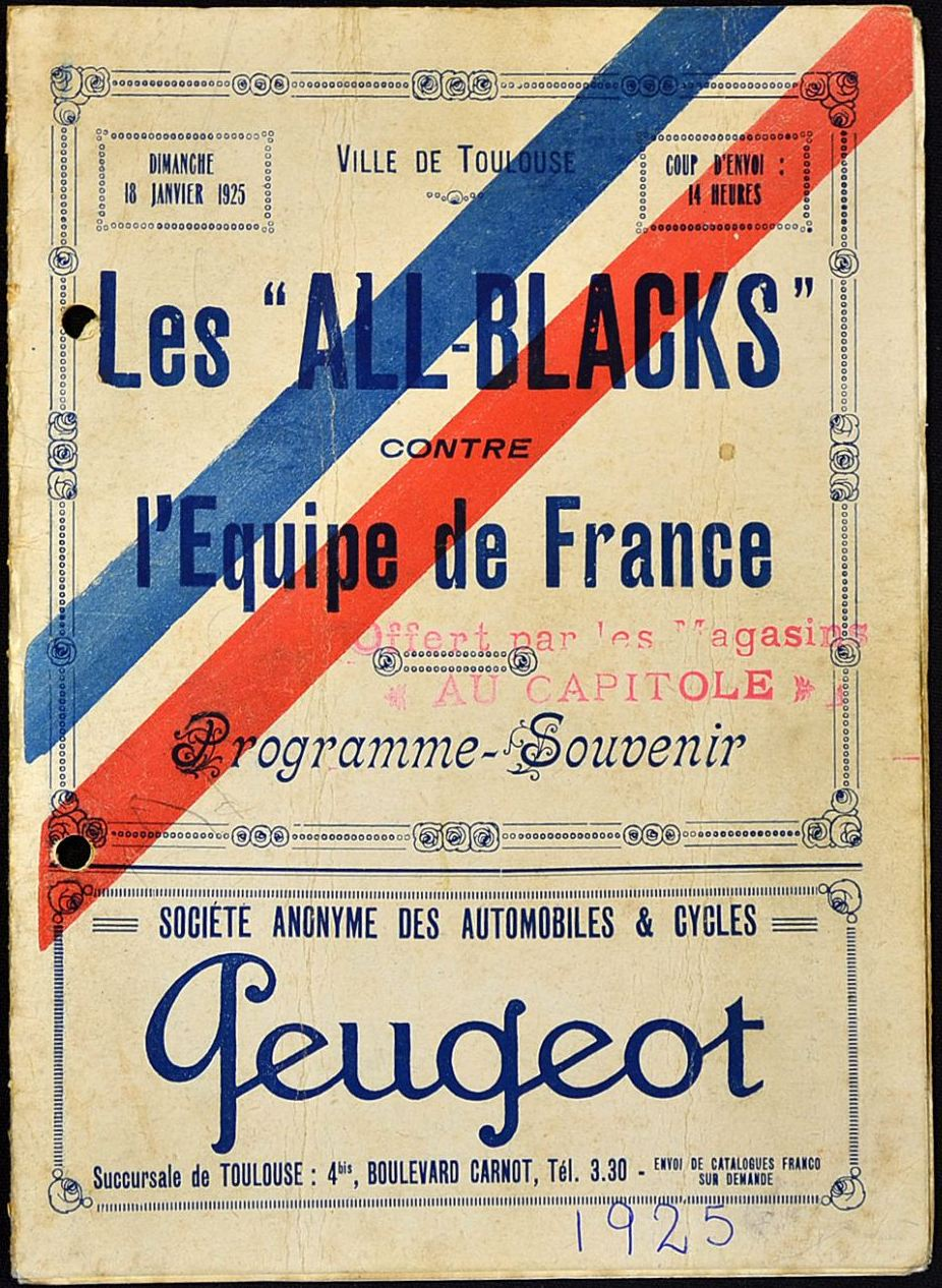 1925 France v New Zealand match programme - Rugby Memorabilia Society