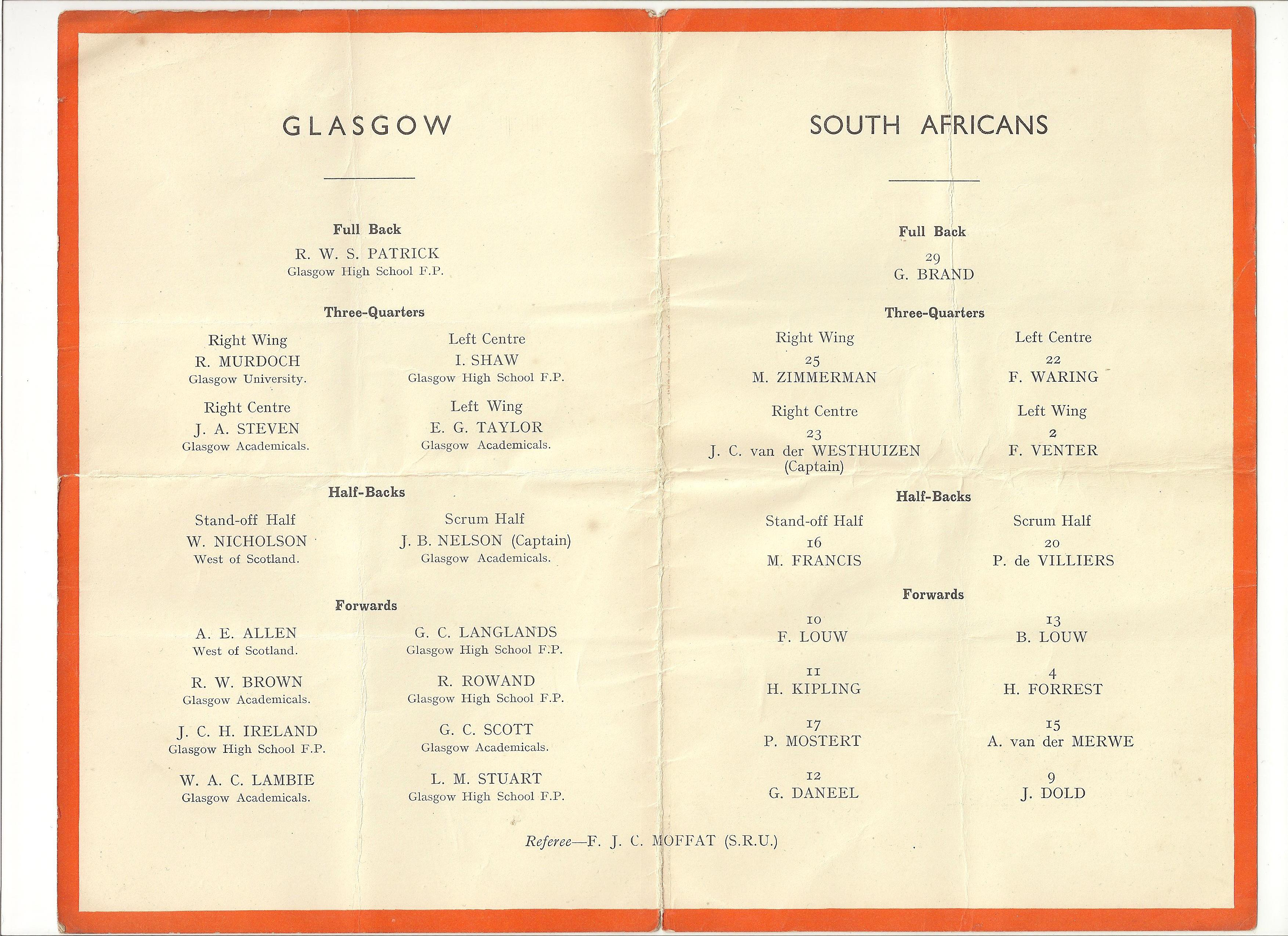 1931 Glasgow & Districts vs South Africa (Team Line-ups) Rugby Memorabilia Society.jpg
