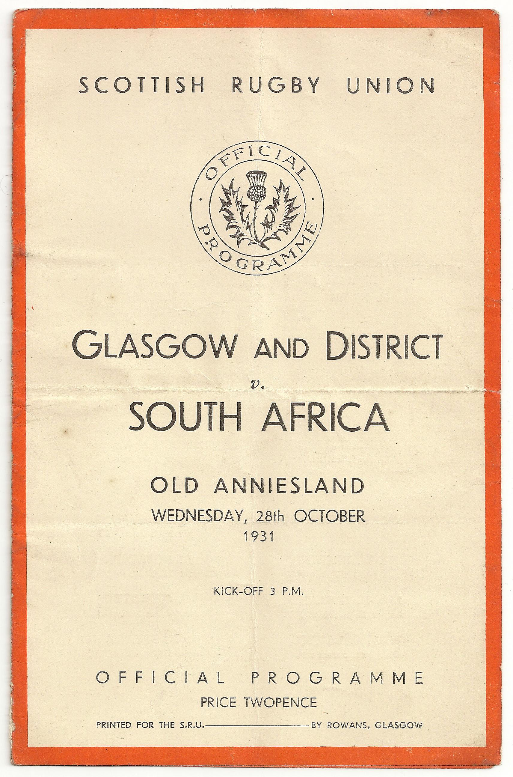 1931 Glasgow & Districts vs South Africa - Rugby Memorabilia Society