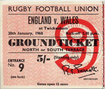1968 England v Wales Match Ticket