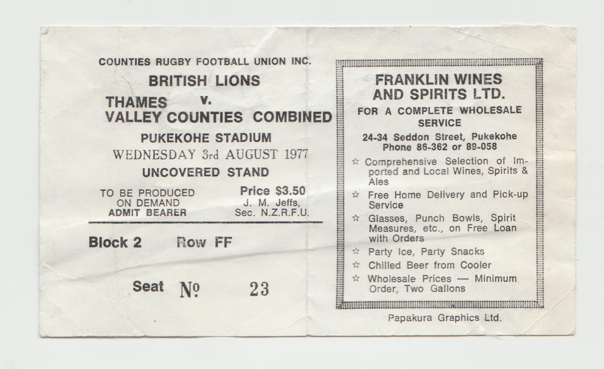 1977 Counties-Thames Valley v British Lions (Ticket) Rugby Memorabilia Society