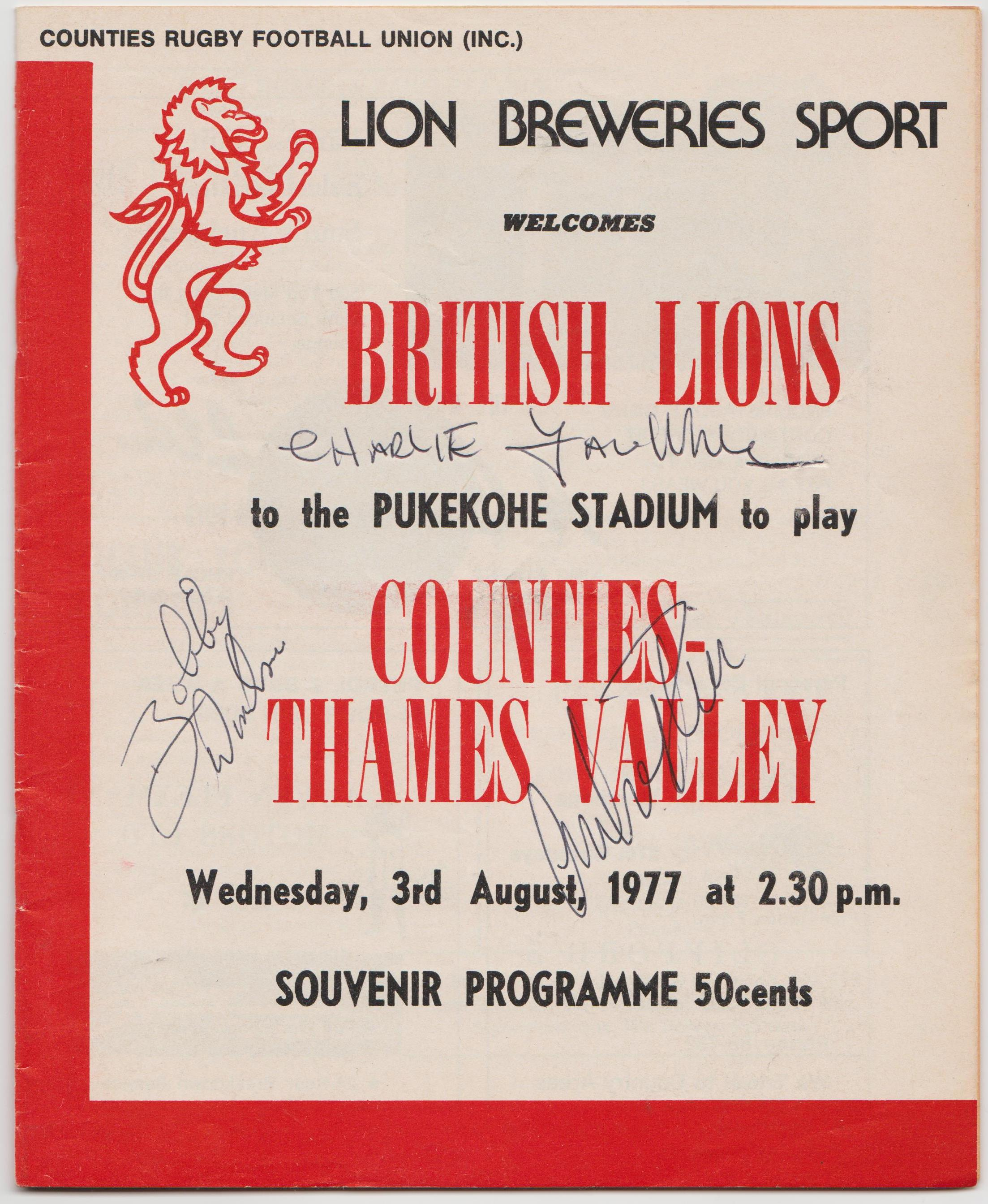 1977 Counties-Thames Valley v British Lions (programme) Rugby Memorabilia Society