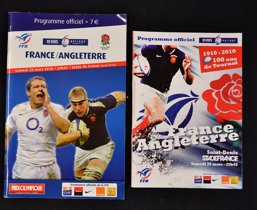 2010 France v England match programmes - Rugby Memorabilia Society