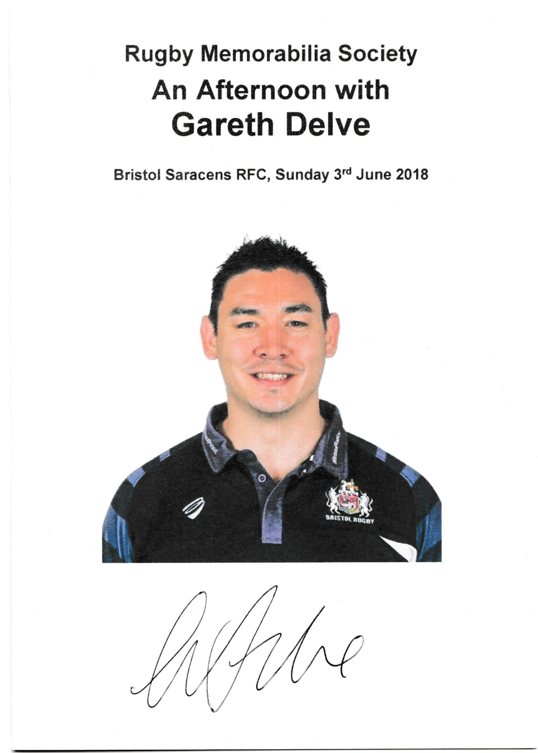Rugby Memorabilia Society - AGM - Speakers Card